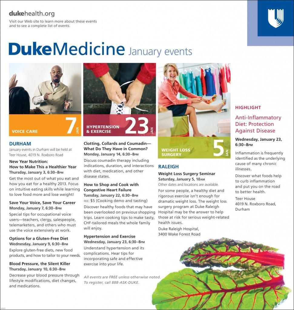 Duke Medicine January 2013 events ad