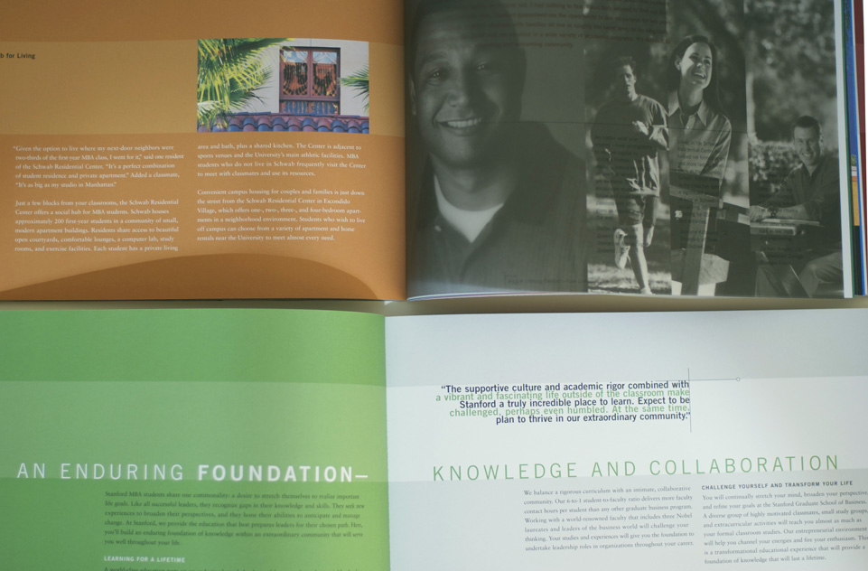 Stanford MBA brochure open detail