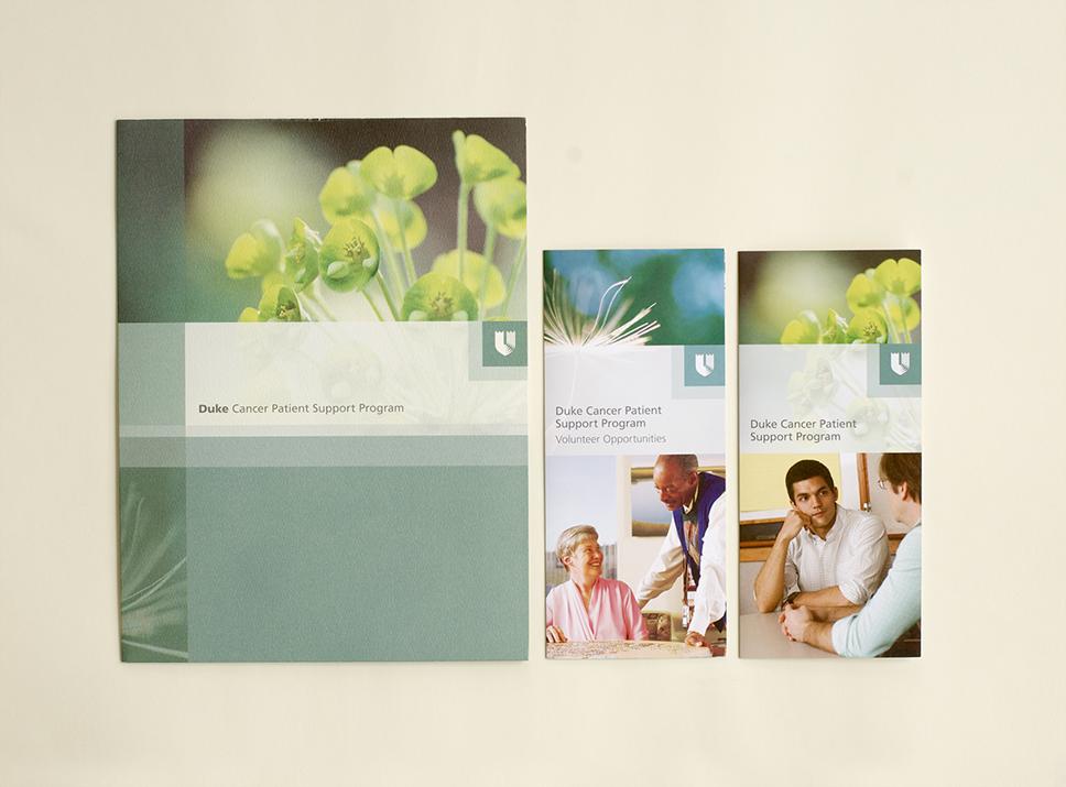 Duke Cancer Patient Support program folder and brochures